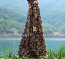 Spring New Beautiful Floral Pattern Ankle Length Wide Flare Cotton Linen Dress, Autumn Ladies Boho Long Loose Plus Size Dresses