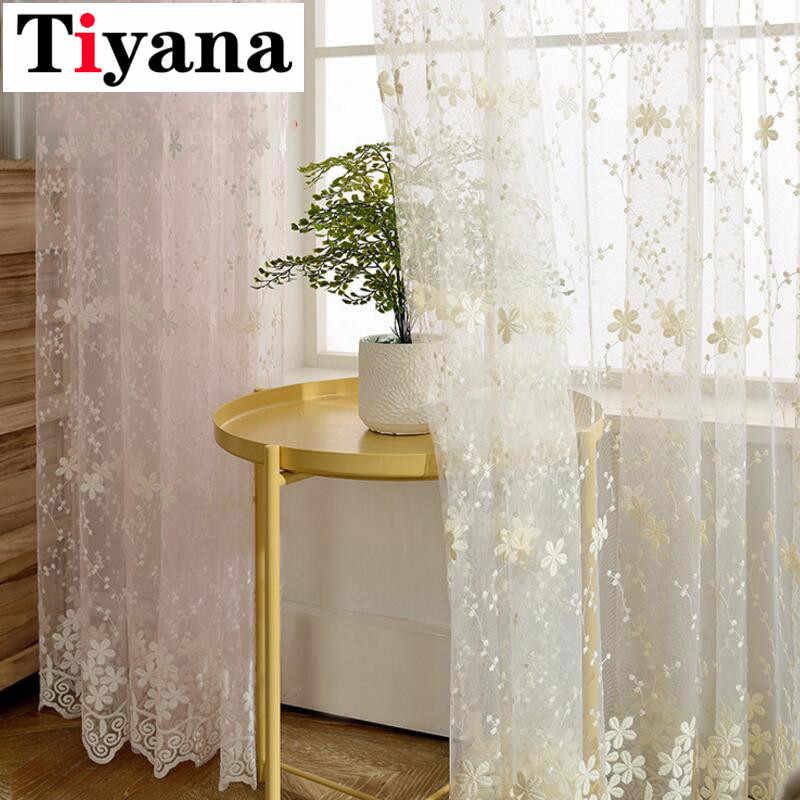Beautiful Lace Curtains Sheer Embroidered Tulle Rustic Flower Pink Voile For Living Room Girls Room Beige Blue Cortinas P058Z30