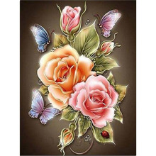 flowers Butterfly Rose Full diy diamond painting diamond mosaic beadwork embroidery Gift making tools diamond pattern RY129(China)