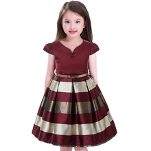mitun semi kids Girls Dress Children stripe +Belt 2pcs Princess Dress 2017 Christmas Wedding Party Dress for Girls Red wine(China)