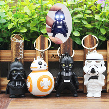 Star War Darth Vader Stormtrooper Force LED Keychain with Sound and Light PVC Key Ring Pendants Chaveiro Gift 5-6cm
