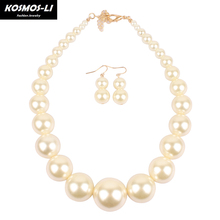 KOSMOS-LI Pearl Jewelry New Fashion Simulated Pearl hyperbole Necklace Big Pearl Bead Choker Women Pearl Collar Necklace 8052(China)