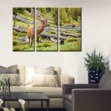 Customized 3 Pieces Animals Poster HD Print Beautiful Angle Deer Wall Art for Canvas Painting Living Room Decor Fashion Artwork