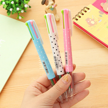 1 Pcs New Pen 4 Colors Fun Ink Retractable Ballpoint Pen Caneta Writing Stationery Gift Material Escolar Office Accessories