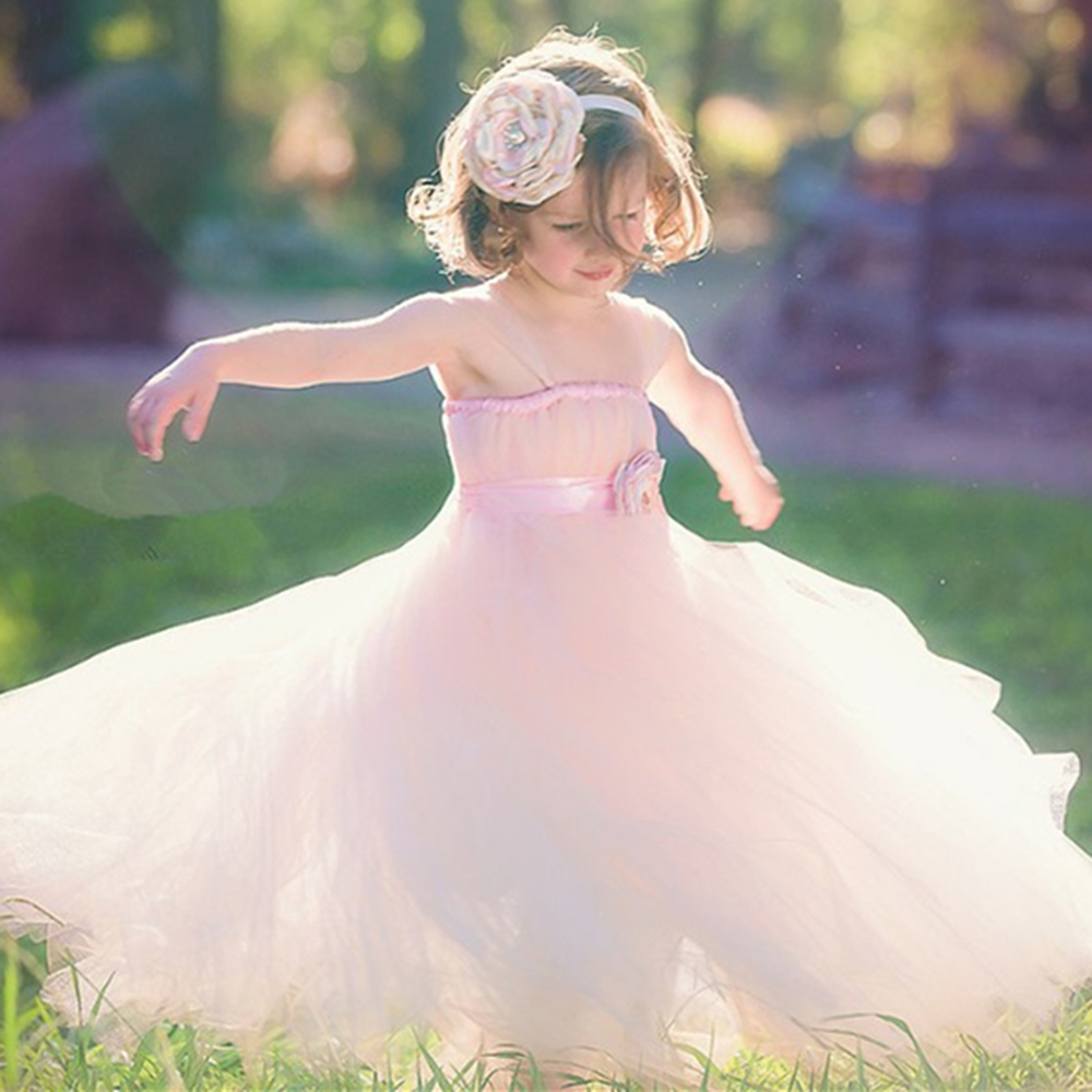 Unique Blush Flower Girl Dress with Floral Sash Tulle Straps Girl Tutu Dresses Wedding Party Girl Dress Prom Evening Clothing<br>