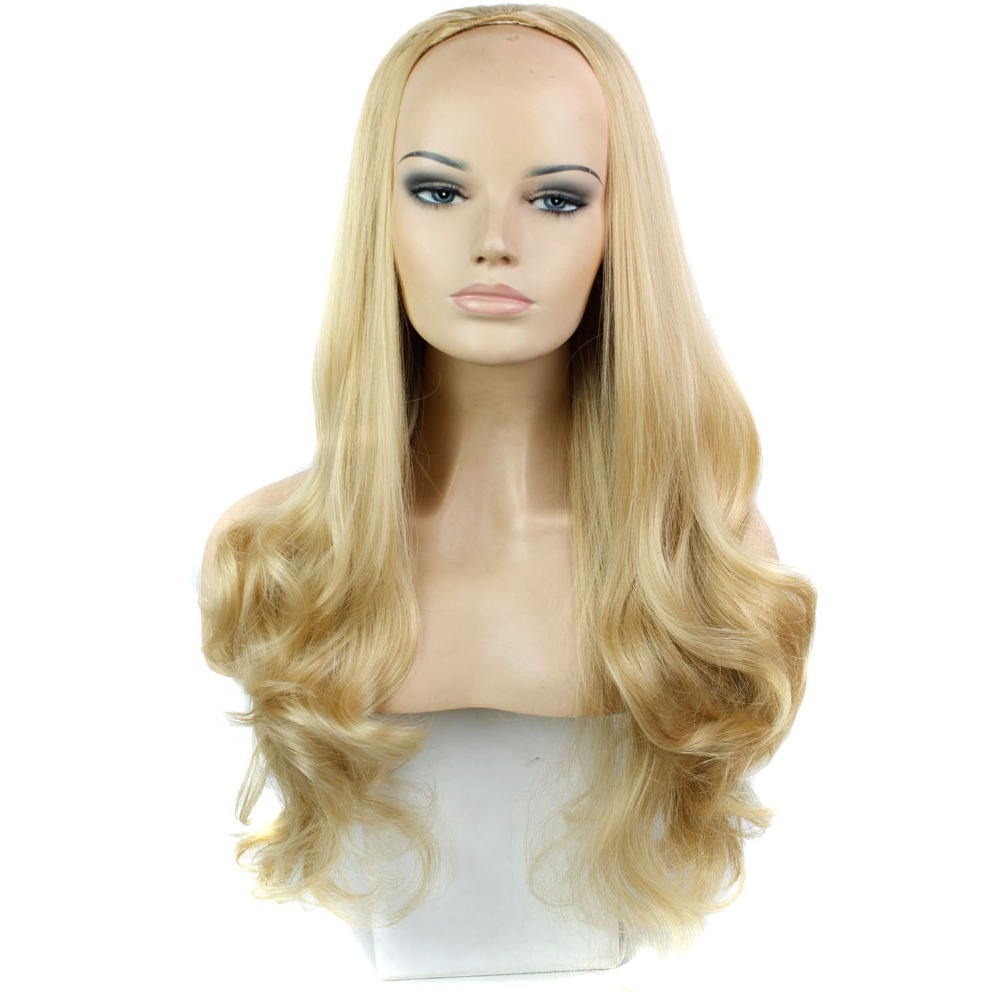 4Colors 30 270g Womens 3/4 Full Head Long Wavy Wig, Cheap Curly Ombre Wavy Synthetic Half Wig,harajuku perucas Synthetic Wigs<br><br>Aliexpress
