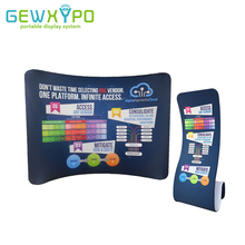 10ft*7.5ft Tradeshow Portable Display Curve Stretch Tension Fabric Backwall With Snake Banner Stand(Include One Side Printing)