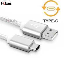HKkais USB Type C Cable Metal Type-C Plug USB-C Nylon Line Mobile Phone Cable For Samsung S8 A7 HUAWEI P9 Macbook Xiaomi MI5 LG