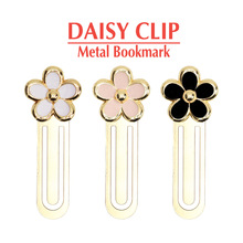 Cute Daisy Clip Metal Bookmarks Gold Plated Drop Oil Pink White Black Flower bookzzicard Korean Bookmark Stationery Wholesale
