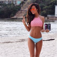 New Printing Bikini Explosion Models Sexy Swimsuit Women Bikini Sets Sports Pink BiquinI Female Padded Bathing Suit(China)