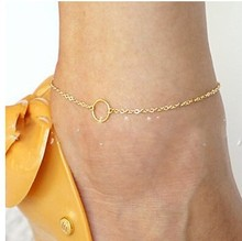 A002 Sexy Women Round Circle Gold Ankle Chain Anklet Foot Jewelry Sandal Beach Jewelry Simple Foot Chain tornozeleira
