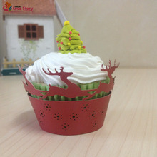 2017 New 50Pcs Cupcake Wrappers Laser Cutting Deers party Supplies Wedding Decoration Birthday Party Decoration Kids