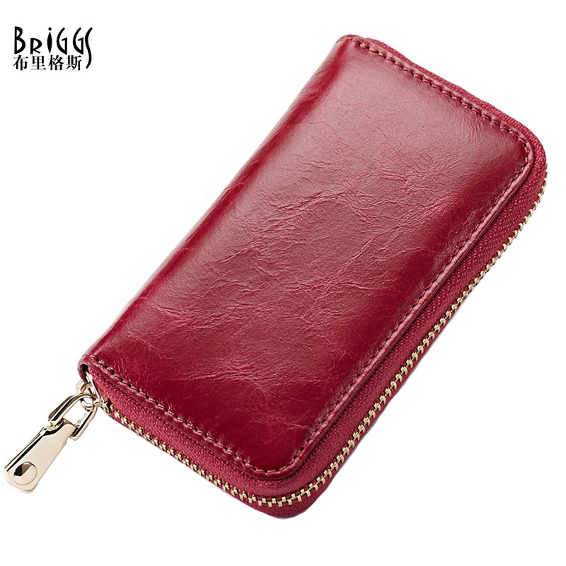 BRIGGS High Quality Vintage Oil Wax Genuine Cow Leather Key Case Women & Men's Versatile Luxury Car Key Holder Small Wallet K-17(China)