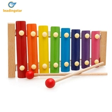 LeadingStar Baby Musical Toy 8 Tunes Wooden Hand Knock Piano Early Educational Hand for Color Syllable Cognitive zk35