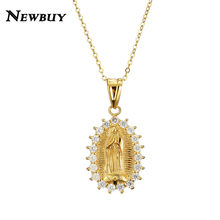 NEWBUY Classic Blessed Virgin Mary Pendant Necklace Gold Silver Rose Color Christian Faith Jewelry Prayer Cross