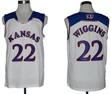 Stitched Number #22 Andrew Wiggins Kansas Jayhawks KU Throwback College Basketball Jersey(China)