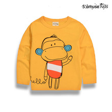 Baby Boys Clothes Girls Cotton T-Shirts Spring Baby Kids Long Sleeve T Shirt Toddler Cartoon Monkey Yellow Children Sweatshirt(China)