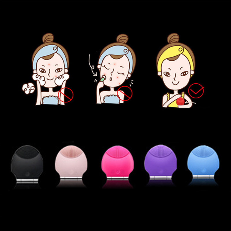 Hot Electric Face Cleanser Vibrate Pore Clean Waterpoof Silicone Gel Cleansing Brush Massager Facial Vibration Skin Care Brush 22