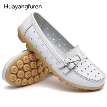 2017 Shoes Woman Genuine Leather Women Shoes Flats 8 Colors Buckle Loafers Slip On Women's Flat Shoes Moccasins Plus Size Q5