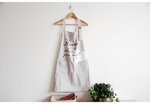 Nordic Warm Home Love Print Grey Apron Cotton Kitchen Cooking Baking Love Apron Gift