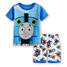 Thomas Train Suit Boys Summer Clothing Set Kids Short Sleeve T Shirt Pajamas Old Thomas Friends Train Homewear Bobo Bebe 2-7Y