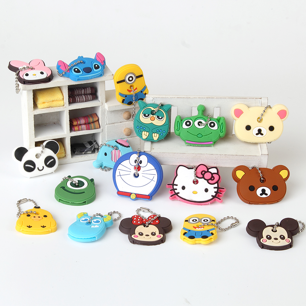 Anime Silicone Key Cap Cat Minion Key Chain Women Bag Charm Key Holder Mickey Key Ring Owl Keychain Hello Kitty Stitch Key Cover(China (Mainland))