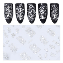 1 sheet 3D Flower Nail Art Stickers Silver Lace Pattern Nail Charms Nail Decals Decoration #19358(China)
