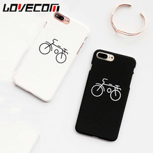 LOVECOM Cartoon Couples Bicycle Painting Hard Frosted Phone Case For iphone 6 6S 7 Plus Back Cover Coque Mobile Phone Bags