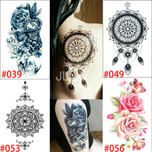 1 Sheet Indian Body Paint Arabic Fake Black Arm Tattoos Stickers For Shoulder Tatoo Waterproof Tatto 19x12cm