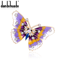 New Fashion enamel brooch pins crystal jewelry Purple Dream Butterfly animal brooches for women christmas gifts(China)