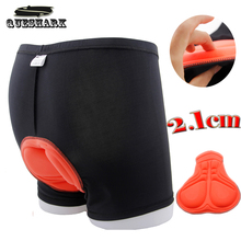 2.1CM Cycling Shorts 3D Sponge Padded Soft Bike Briefs Riding Underpants Boxer Sports Short Pants Bicycle Shorts Underwear(China)