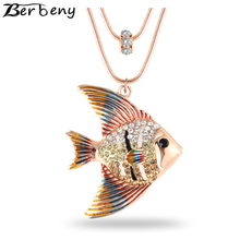 Berbeny Fashion Cute Jewelry Oil Drop Crystal Animal Tropical Fish Style Double Circle Chain Pendant Chokers Necklaces(China)
