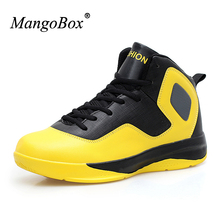 MangoBox Mens Sneakers Basketball Big Size 47 Men's Basketball Shoes Yellow Black Mens Sport Shoes Light Basketball Trainers(China)