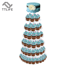 TTLIFE 7 Tier Crystal Clear Circle Acrylic By DHL Round Cupcake Stand for Wedding Party Cake Display Decoration