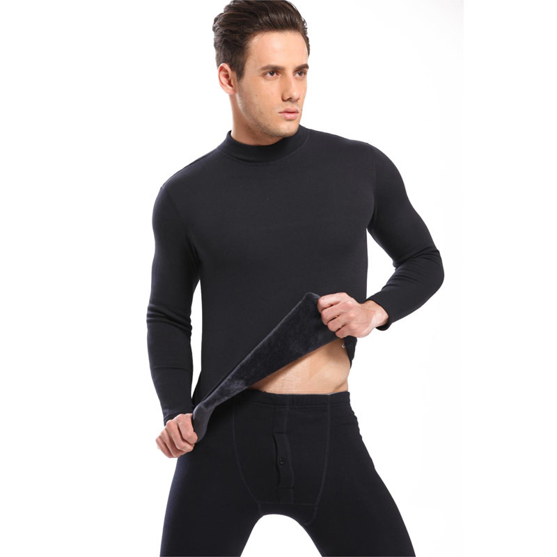 Hot Winter Warm Thicken Thermal Underwear Mens Long Johns Sexy Black Thermal Underwear Sets Thick Plus Velet Long Johns Man