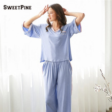 SWEETPINE 0045 Women Warm Casual Comfortable Pajamas Two-piece Set Three-quarter Sleeves V-neck Shirt & Pants Drop Shipping(China)