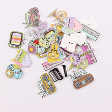 Wholesale  50pcs Mixed ColorMusical Instrument Wooden Buttons For Handmade Craft Fit Sewing And Scrapbooking Accessories 2 Holes