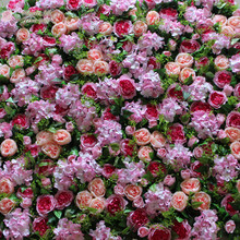 flower all over gulf artificial flower wall for backdrop wedding decoration pink David Austin rose green leaves grass(China)