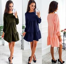 Buy O-Neck Long Sleeve Ruffles Casual DressWomen Fashion Sweet Mini Dress Autumn 2017 New Party Dresses Women Clothing Vestidos for $9.97 in AliExpress store