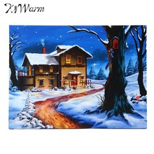 Kiwarm LED Light Christmas Snow Houses Tree Canvas Painting Wall Art Picture Print for Home Hotel Room Decor 40x30cm Unframed