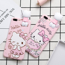 Phone Case for iPhone X 8 7 6 6s Plus 5s SE Cute Cartoon Love Hello Kitty Heart Bow Pink Soft TPU Back Cover Case for Girl Kids(China)