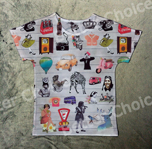 Track Ship+Hot Summer Vintage Retro Cool Rock&Roll Punk T-shirt Top Tee 80 memory Little Girl Zebra Bus Car Camera 0060