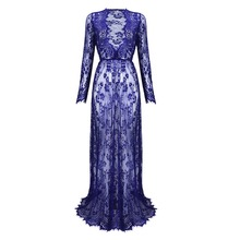 2017 Maternity Sexy Deep V Neck Glamour See-through Hollow Lace Long Maxi Dress Beach Dress(China)