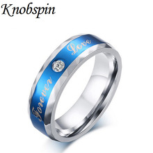 Fashion Blue Stainless steel Jewelry Ring men Can be engraved Engagement Wedding band ring for men with white stone