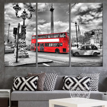 3 piece Printed wall art bus street Painting Canvas living room decoration wall art poster picture canvas Free shipping/ny-6055C