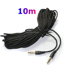 New Woven universal Long 10M Black 3.5mm male to 3.5mm male audio aux stereo cable cord for mp3 ipod speaker audio access