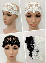 Lace basic bandage black and white muslim bandanas free shipping(China)