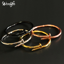Wonlife Hot Sale from Factory Price Sale Fashion Popular style Women Nail Bracelet Titanium Stainless Steel open Couple Bangle(China)