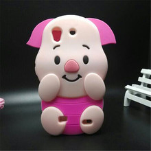 Soft silicone phone cover case For Huawei Ascend G620S G620 3D cute cartoon rose red big ears pig