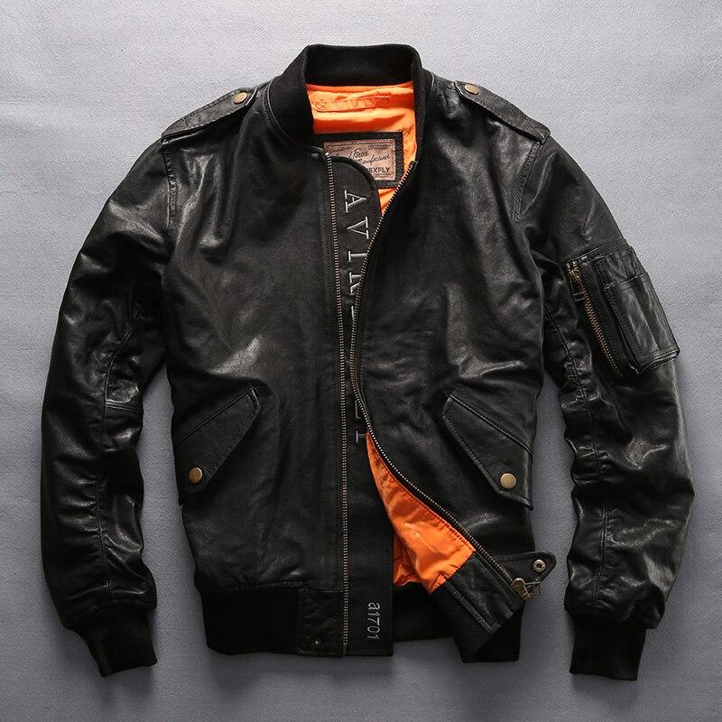 2017 Avirex fly genuine leather jacket men fashion baseball jacket sheepskin flight jacket men bomber jacket men's pilot coat